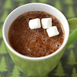 Minty Eggnog Hot Chocolate Recipe - Eggnog and mint chocolate are simmered together creating a rich and unique hot chocolate for a cold winter day.