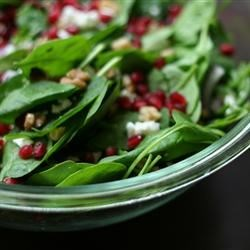 Spinach Pomegranate Salad Recipe - This is a simple and beautiful salad made with pomegranate seeds and feta cheese.