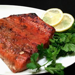 Sesame Grilled Salmon Recipe - Grilled salmon flavored with a soy sauce-based marinade and sprinkled with sesame seeds is a quick and easy meal.