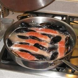 salmon on the stove