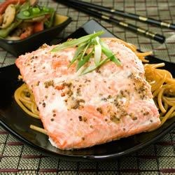 Ginger Salmon Recipe - The wonderful natural flavor of salmon is greatly enhanced by the addition of a tangy glaze made with ginger, honey, and Dijon mustard.