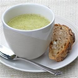 Best Cream Of Broccoli Soup Recipe and Video - Onions, celery, and broccoli cooked in chicken broth are pureed with milk in this quick scratch-made cream of broccoli soup.
