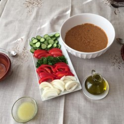 Middle Eastern Bean Dip (Foul Mudammas) Recipe - This dip with fava and garbanzo beans is great for breakfast or dinner.