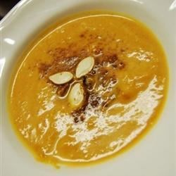 Pumpkin Soup Recipe - Made with cubed pumpkin and fresh herbs, this delicious soup is enriched with just enough cream to make it taste decadent-but it's made with a chicken broth base.