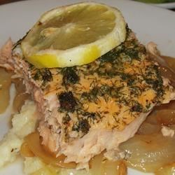 Cedar Plank-Grilled Salmon with Garlic, Lemon and Dill Photos ...