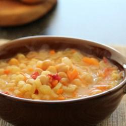 Garbanzo Bean Soup Recipe - This is a recipe that I picked up in Italy a few years ago.  Being that I'm not a soup fan, I was somewhat hesitant...  but this thick and hearty soup quickly won my praise.  It will quickly become a favorite recipe!