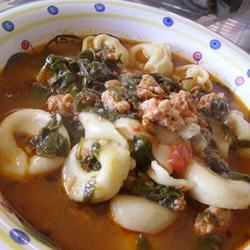 Garlicky Tortellini Soup With Sausage, Tomatoes and Spinach