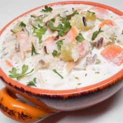 Smoked Turkey Wild Rice Soup Recipe - A comforting bowl of creamy smoked turkey soup, full of vegetables and wild rice, makes a warm and fragrant meal when the cold winds blow.