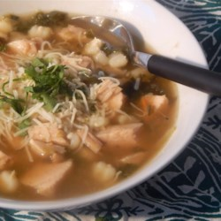 Green Chile Posole (Low-Fat) Recipe - This lighter take on the traditional Mexican posole uses turkey, hominy, and green chiles to make a simple and healthy one-pot stew.
