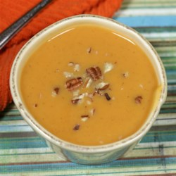 Quick and Easy Sweet Potato Soup Recipe - Sweet potatoes cooked in chicken broth are seasoned with with nutmeg, ginger, cinnamon. and cayenne in this quick and easy soup recipe.
