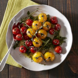 Blistered Tomatoes with Herbs Recipe - This simple side dish by Karen Mordechai of Sunday Suppers is a quick and delicious addition to any meal.