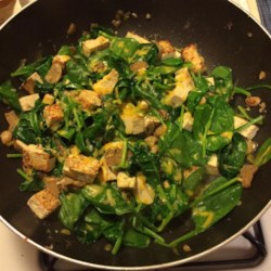 Easy Gorgonzola Tofu Scramble  Recipe - This Gorgonzola and tofu scramble with mushrooms and spinach is a quick and easy way to prepare tofu for breakfast, lunch, or dinner.