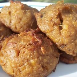 Bolas de Mani (Peanut and Plantain Balls) Recipe - These green plantains are mashed and mixed with peanut butter, salt and then baked.  Delicious!  This is a South American dish that I usually serve with eggs for breakfast.