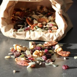 Antioxidant Trail Mix Recipe - A colorful mix of nuts, berries, and seeds make this trail mix great for an energizing breakfast or quick and easy snack on-the-go.