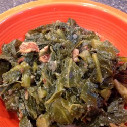 Chef Scott's Kickin' Mixed Greens Recipe - Collard greens, turnip greens, and mustard greens are flavored with bacon and onion in this terrific and tasty side dish recipe.