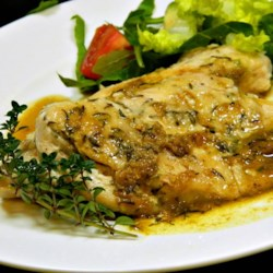 Pan-Seared Chicken with Thyme Recipe - Chicken cutlets are quickly pan-seared and served with a simple broth-wine sauce with fresh thyme.