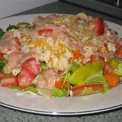 Santa Fe Chicken Salad Recipe - This recipe makes four composed salads that are delicious and fun to make. Lettuce is piled on each plate, then tomatoes and green onions are sprinkled on. Next come the yummy slices of grilled chicken and a handful of tortilla  'crispies.' Finish with a zesty Italian dressing.