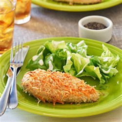 Original Ranch Cheddar Chicken Recipe - Coated with tangy Hidden Valley(R) Original Ranch(R) Dressing, chicken breasts are then dredged in a cheesy panko mixture and baked until crispy and tender.