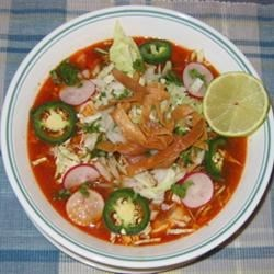 Posole Soup Recipe - Authentic Posole is made with the pig's head; the ears are the delicacy. This simple recipe uses more 'acceptable' ingredients.