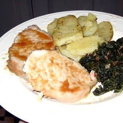Easy Roasted Pork, Greek Style Potatoes and Kale with Bacon