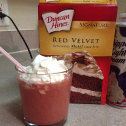 Red Velvet Milkshake Recipe - A red velvet milkshake made with cake mix and ice cream is the perfect indulgent dessert for Valentine's Day.