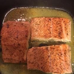 Orange Salmon with Creole Seasoning Recipe - Salmon steaks are coated with Creole seasoning and pan fried with orange juice.