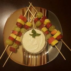 Fruit Skewers with Apple Cinnamon Dipping Sauce Recipe - Make breakfast or a snack just a little special by serving this healthy yogurt dipping sauce with fresh fruit skewers.