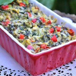 Holiday Hot Spinach Dip Recipe - Serve your favorite crackers with this colorful red and green Christmas appetizer.