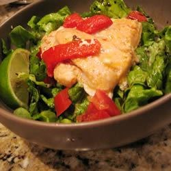 Mexican Salmon Recipe - Salmon steaks are marinated in a tangy lime juice mixture, broiled, and served with lettuce, tomatoes, green onions and lime wedges. This recipe is great on the grill, too!