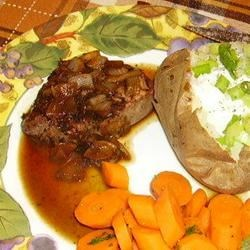 Steak with Marsala Sauce Recipe - The rich, smokey flavor of Marsala wine sauce perfectly compliments a good sirloin steak.