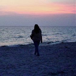 Linda on the beach.