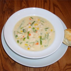 Chicken Pot Pie Soup Recipe - Using reduced calorie ingredients makes this soup with cans condensed cream of potato and chicken soup combined with mixed vegetables and cubes of cooked chicken both low in both calories and fat.