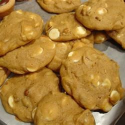Pumpkin Pecan White Chocolate Cookies Recipe - Soft, cake-like pumpkin cookies with pecans and white chocolate chips.
