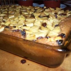 Cinnamon Pudding Cake With Apples & Raisins
