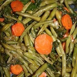 Healthy Green Beans, Carrots, and Spinach