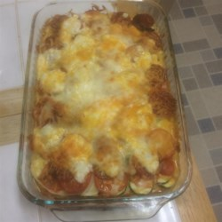 Zucchini Casserole III Recipe - This is very delicious! I like to use fresh vegetables from the market when I make this. It has a juice after it's cooked that is great for dipping bread into.