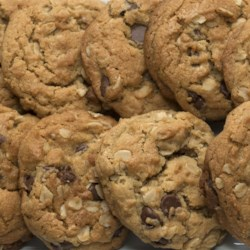 Outrageous Chocolate Chip Cookies Recipe and Video - A great combination of chocolate chips, oatmeal, and peanut butter.