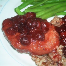 Cranberry Pork Chops II Recipe - Sweet cranberry pork chops simmered to perfection.