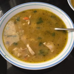 Spicy Chicken Curry Soup Recipe - This is a simple chicken curry soup. Recipe is quite spicy as is. Adjust the amount of green curry paste to lessen the amount of heat if necessary.