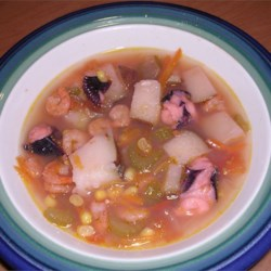 Shrimp and Octopus Soup (Caldo de Camaron y Pulpo) Recipe - This is a 'Caldo' or soup made with Shrimp and Octopus.  This is for all the Mexican and seafood lovers.  This soup can be eaten with Tortillas or Tostadas.