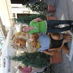 With the beer drinking lion in Munich, Germany
