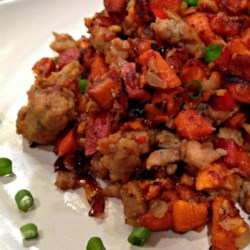 Sweet Potato and Pastrami Hash Recipe - A comforting no-fuss meal for a cold night, this Sweet Potato and Pastrami Hash recipe is studded with root veggies and 2 kinds of sausage.