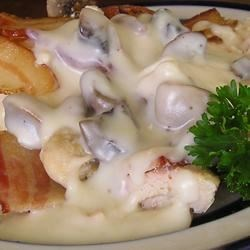 Bacon Mushroom Chicken Recipe - A robust dish with fresh mushrooms and a blanket of cream.