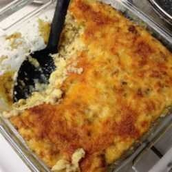 TV's Grits Casserole Recipe - Sausage, bell pepper, onion, and celery work with grits in this Southern recipe.