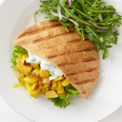 Apple Curry Turkey Pita Recipe - This is great for turkey leftovers. Simple, quick and flavorful. This is a good one for substitutions too. I've used white wine in place of lemon, sour cream in place of yogurt, chicken in place of turkey and Indian naan in place of the pita. Enjoy!