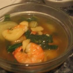 Spicy Asian Soup with Bok Choy and Prawns