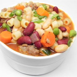 Poor Man's Pasta Fagioli Recipe - An Italian-inspired soup with pasta, vegetables, and plenty of beans will stick to your ribs.