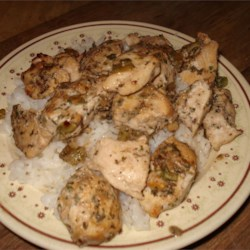 Chicken Scampi I Recipe - A wonderful, fresh, light way to serve chicken. Good over rice.