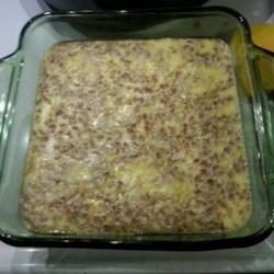 Grapenuts(TM) Custard Recipe - This custard is baked in a water bath and is topped with cereal and butter for a delicious treat.