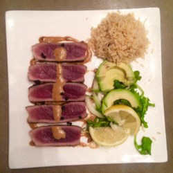 Wasabi Yellowfin Tuna Recipe - This tuna steak absolutely hits the spot. In short, it makes a perfect meal when served with brown rice and Chinese-style veggies.
